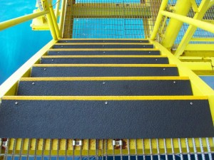 Offshore Rig in Malaysia with anti slip stair treads