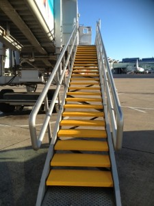 Close Up of Birmingham Airport Steps showing SComp anti slip stair treads