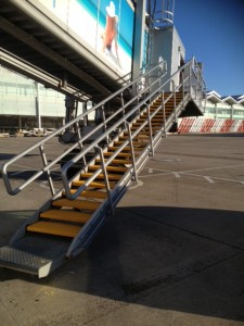 Close Up of Birmingham Airport - Airplane Steps fitted with SComp anti slip stair treads